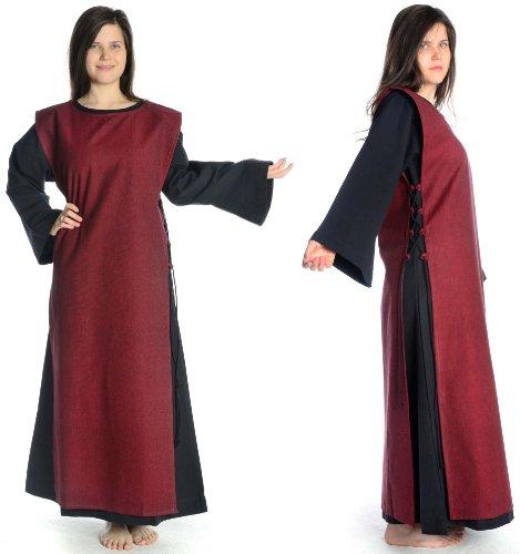 HEMAD Damen Mittelalter Kleid schwarz mit Skapulier S-XL Baumwolle mit Leinenstruktur Damenkleid Schwarz-Rot