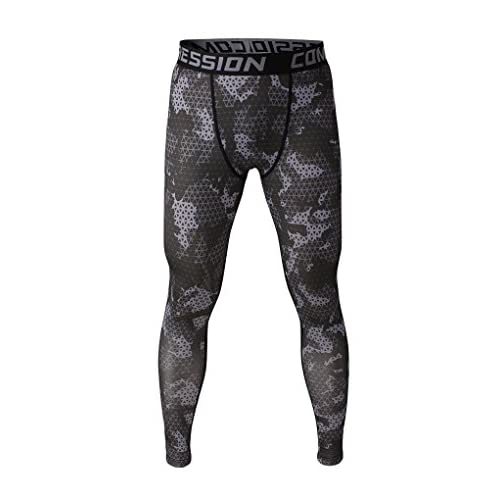 41CfoTD6QgL. SS500  - Fringoo Men's Workout Compression Tights Running Gym Leggings Long Base Layer Bottom Thermal Pants Sport Training