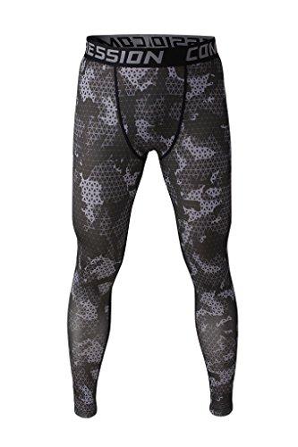 Fringoo Workout-Kompressions-Strumpfhosen für Herren Thermo-Hose für Sport Army Black