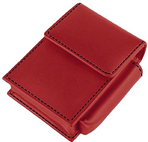 Hochwertiges in Handarbeit gefertigtes Luxus Zigarettenetui aus feinstem Top Grade Rindsleder mit Kontrastnähten und Feuerzeughalter (Rot)