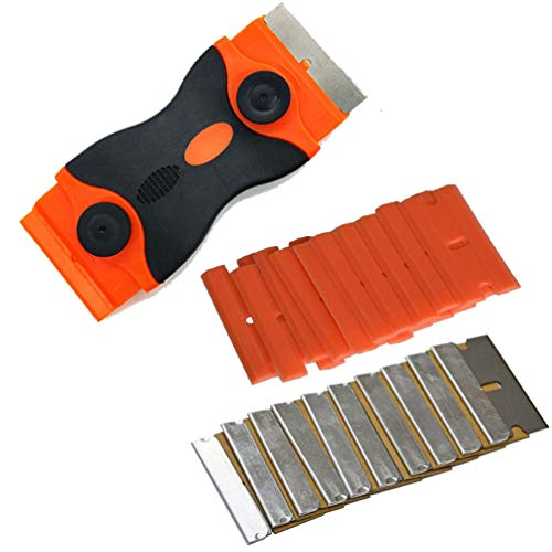 Kaiying Mini-Rasiermesser Razor Schaber Double Edge-Rasierklingenmit 10 Kunststoff und Edelstahl Stück Klingen für das Entfernen Kleber, Registrierung, Farbe Double Edge Scraper Blade