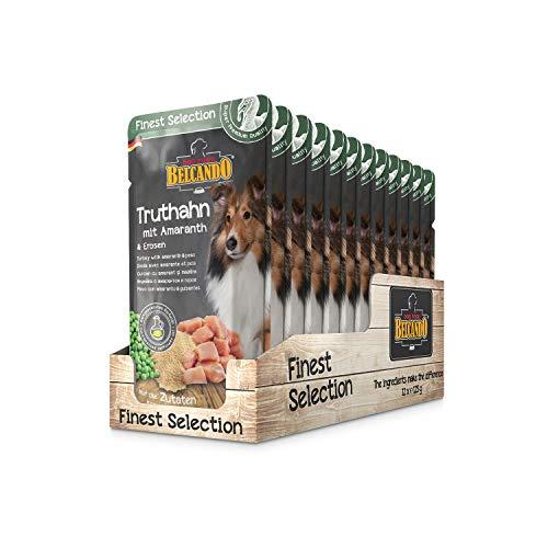 Belcando Frischebeutel [12x125g Truthahn mit Amaranth & Erbsen] | Nassfutter für Hunde | Feuchtfutter Alleinfutter im Einzelportionsbeutel
