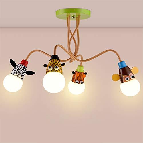 ZQH LED Karikatur Tier Kinderzimmer Deckenleuchte, kreativ Haushalt Junge Mädchen Schlafzimmer Lampe Kindergarten Dekoration Beleuchtung Vorrichtung,fourheads75*45CM