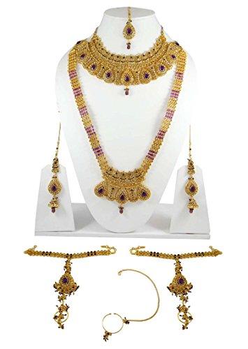Belle Mariée Mariage Serti De Pierres Cz Bollywood Collier Bijoux Ensemble Cadeau Pour Les Femmes Violet