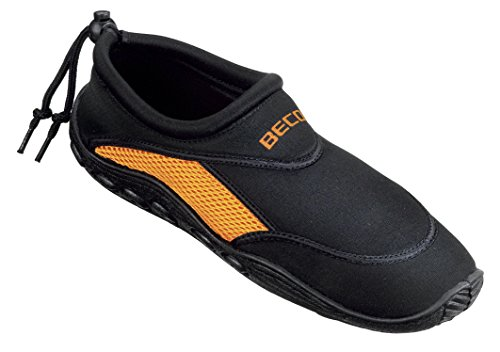 BECO Badeschuhe / Surfschuhe für Damen und Herren schwarz/orange 42 (Aqua-schuhe)