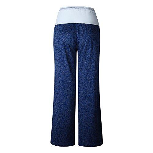 Pantaloni Donna Vita Alta Larghi Pantaloni A Palazzo A Gamba Larga Eleganti Vintage Hip Hop Casual Pantalone Yoga Pants Luce Blu