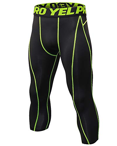 Shengwan Pantaloni da Corsa Uomo Sportivi Leggings Compressione 3/4 Allenamento Palestra Tights Linea Verde M