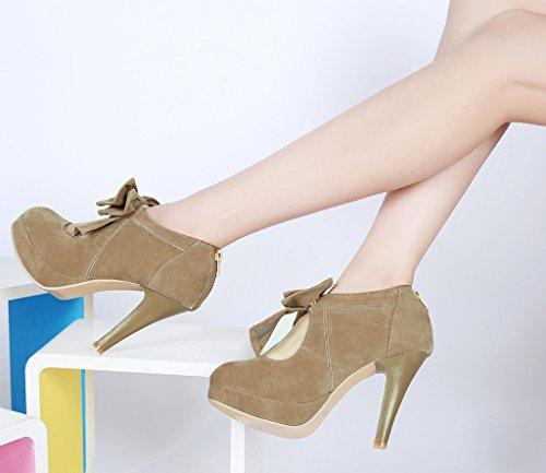 Minetom Donna Scarpe col tacco Vintage Stiletto Platform Pumps Stivaletti Festa Nuziale Scarpe Da Sposa Con Bowknot Cammello