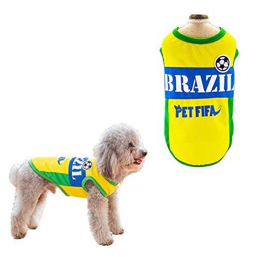 SymbolLife Hunde T-Shirt Trikot Jersey für Hunde Katzen Kostüme Nationalflagge Fußball Weltmeisterschaft FIFA Kleidung Haustierhundekleidung Brasilien (XS)
