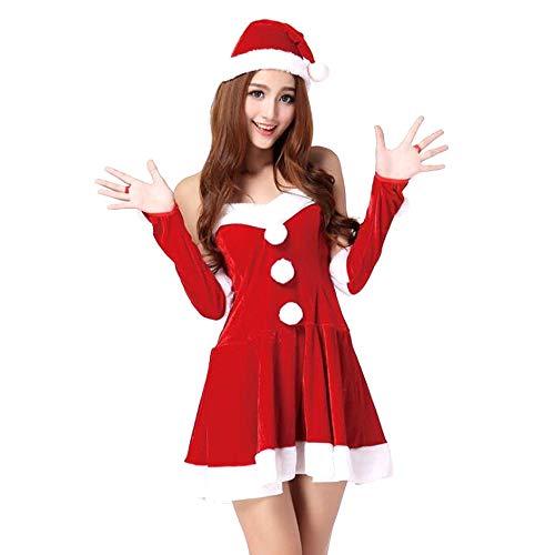 Weihnachtskostüm - Weihnachten Set Adult Europa und Amerika Weihnachten Kostüme Old Party Kleidung (rote Einheitsgröße)