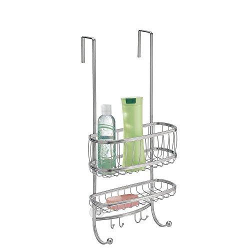 mDesign Duschablage zum Hängen über die Duschtür – praktisches Duschregal ohne Bohren aus Metall – 2 Duschkörbe zum Einhängen und 6 Haken für Duschzubehör – silber