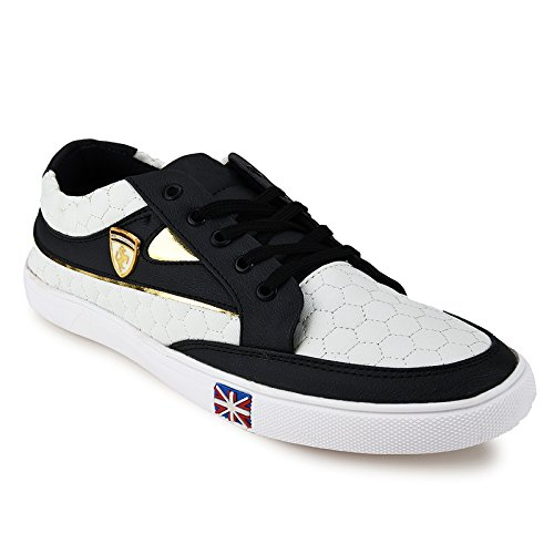 Backmesh Mens' Stylish Black & White Lace-Up Casual Shoes Size:- 8