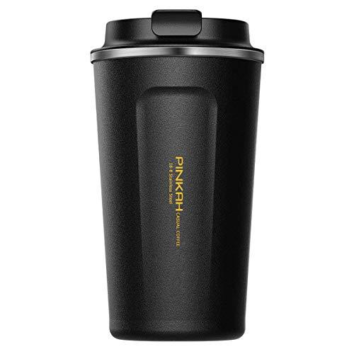 PINKAH Doppelwandige Edelstahl-Vakuumisolierte Kaffeetasse - Thermo Becher Travel Mug (510ml/17oz, Schwarz) 17 Oz Mug