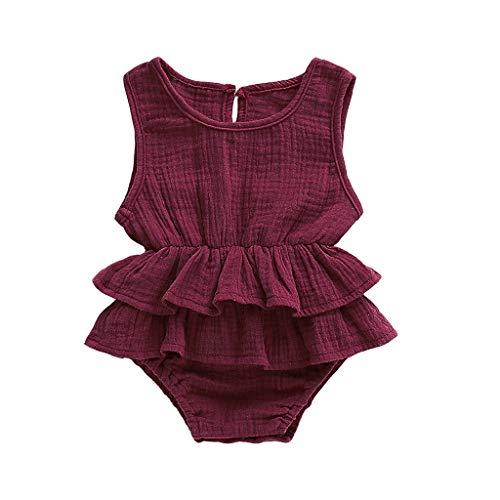 Junge Ärmellos Gekräuselte Einteiliger Strampler Kleinkind Spielanzug 0-24 Monate Prinzessin Neugeborenes Kleidung ()