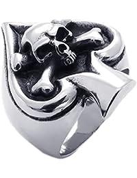 KONOV Joyería Anillo de hombre, Calavera Cráneo Póker, Jugando a las cartas Tribal Gótico Biker, Acero inoxidable, Color negro plata (con bolsa de regalo)