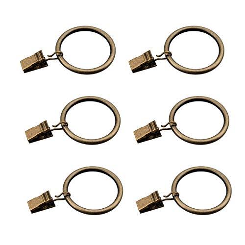 Coideal set di 30 anelli per tende in bronzo con clip / pesanti ganci decorativi in metallo per drappi con set di occhielli per tendaggi, finestre, bagno, cucina di casa, adattatori per asta 35mm