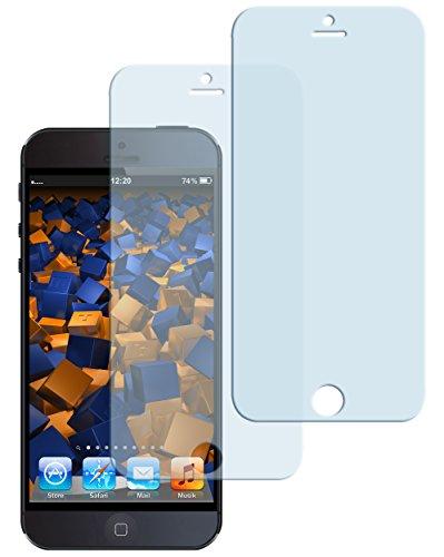 mumbi Hart Glas Folie kompatibel mit Apple iPhone SE Panzerfolie, iPhone 5S Panzerfolie, Schutzfolie Schutzglas (2x)