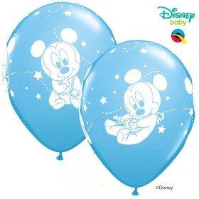 Qualatex - 6 Ballons Latex Disney Mickey Bébé Bleu