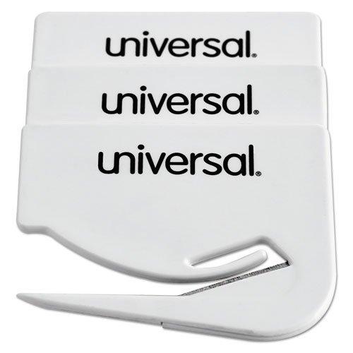 Preisvergleich Produktbild Universal UNV31803 Stahl Brieföffner - Brieföffner (Stahl,  Kunststoff,  6, 4 cm,  weiß,  3 Stück),  144 Stück