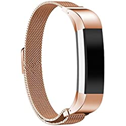 Generic Stainless Mesh Milanese Magnetic Loop Watch Band Strap Bracelet For FitBit Alta Rose Gold