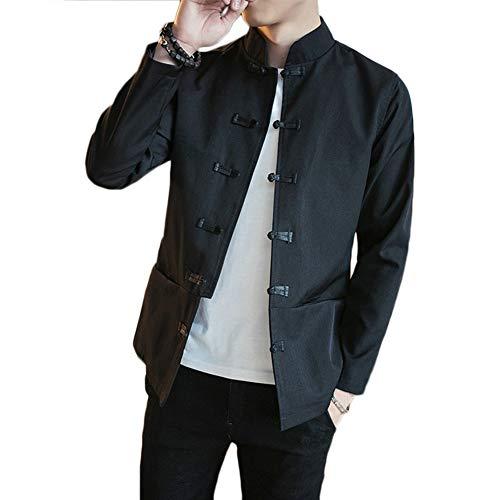 Hemd Herren Einfarbig Freizeit Eigenschaften Schnalle Chinesisch Stil Kung Fu Klassisch Tang-Anzug Leinenhemd Violett Schwarz L -