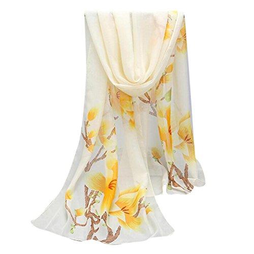Womens Scarves, SHOBDW Women Fashion Long Soft Wrap Scarf Ladies Shawl Chiffon Printing Scarf Scarves (160*50 cm, Yellow)