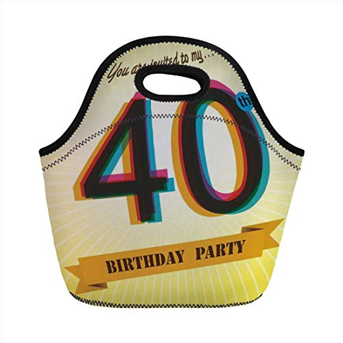 Jieaiuoo Portable Lunch Bag,40th Birthday Decorations,Vintage Graphic Banner Party Invitation Theme Optical Striped,Multicolor,for Kids Adult Thermal Insulated Tote Bags (Vintage-40th Birthday Party)