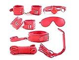 Cuero superior de la PU 7 piezas conjunto de sujeción látigo, esposas, venda, mordazas, collar, corr (Red)