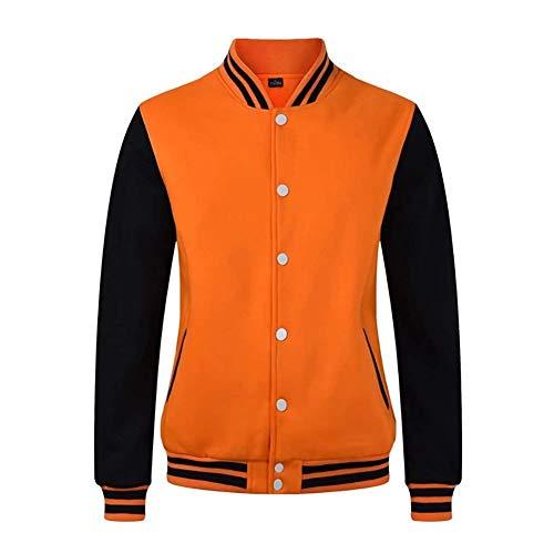 Herren Bomber Jacke Varsity Jacket Letterman Baseball Jacke Langarm Stehkragen Einreihig Seitentaschen Pilotenjacke Mantel (Color : Orange/Black, Size : L)