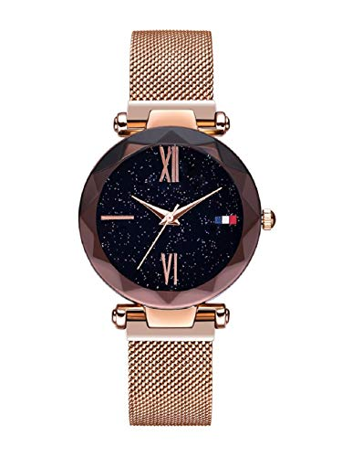 Damen Uhren, L'ananas Frauen Sternenklarer Himmel Wählen Diamant schneiden Mesh Riemen Armband Armbanduhr Women Watches (Roségold-A)
