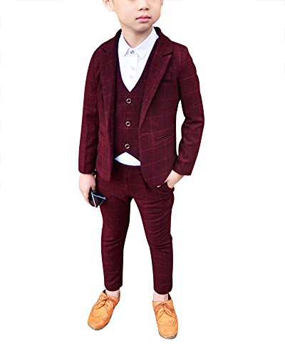 DianShao Bambini Bambino Elegante 3 Pezzi Abito Griglia Set Completo Blazer + Pantaloni + Gilet Viola Rosso 110