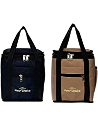 Right Choice Coambo Offer Lunch Bags (BLACK BEIGE) Branded Premium Quality Carry on Tote for School Office Picnic Travel Camping Outdoor Pouch Holder Handbag Compact Heat Preservation Waterproof Hygiene Meal Prep Box Bag for Men Women and Kids, Black + Beige Color (Box.2008)