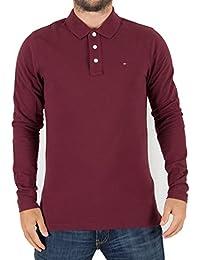Tommy Hilfiger Denim Homme Logo à manches longues Poloshirt, Rouge
