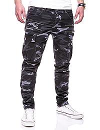 MT Styles Zipper Biker Jeans Slim Fit Camouflage Hose RJ-3196-3