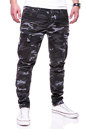 MT Styles Zipper Biker Jeans Slim Fit Camouflage Hose RJ-3196-3 [Schwarz, W31/L32]