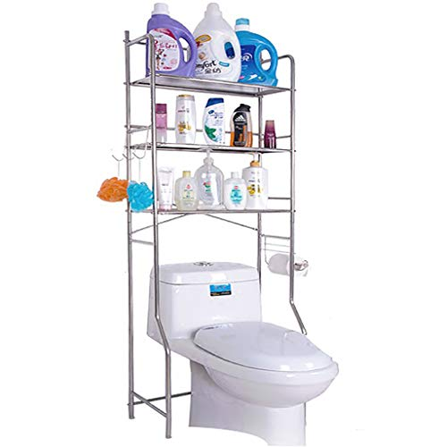 Regal Bad Space Saver, 2-Tier-Eisen-Wc-Handtuchhalter üBer Dem Bad Wc-Regal-Organizer Mit 3 Haken, Weiß -