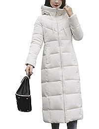 Minetom Mujer Invierno Abrigo con Capucha Manga Larga Trench Chaquetas Largas Moda Acolchado Forrado Peluche Felpa