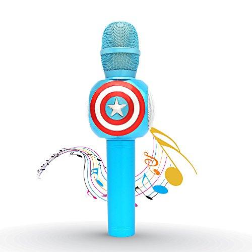 Mihoon Wireless Bluetooth Karaoke Mikrofon 3-in-1 tragbare Handheld-Lautsprecher für Home Party KTV Singen Unterstützt Apple iPhone iPad Android Smartphone-PC (Amerikanischer Kapitän Entwurf, Blau) (Song-aufnahme-mikrofon)