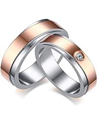 Vnox 2 piezas de acero inoxidable de 18 quilates de oro plateado cúbicos Zirconia banda de