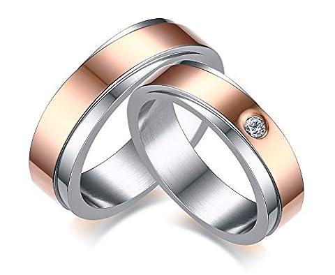 Vnox 2 pièces En acier inoxydable 18K Rose plaqué or Zirconia cubique Mariage Bague promis couple pour l'amant