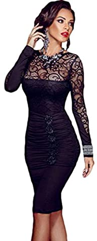 Bling-Bling Womens Floral Applique Lace Ruched Bodycon Midi Dress One Size