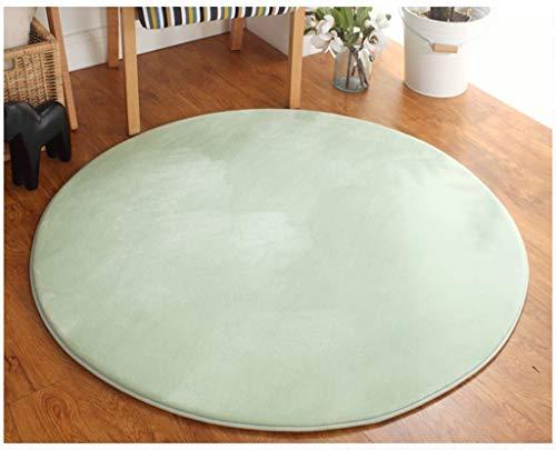 SESO UK-CAR Nordischer moderner Normallackflanell-runder Teppich, Rutschfester weicher und bequemer kurzer Stapelgedächtnis-Teppich für Schlafzimmer-Wohnzimmer (Farbe : Hellgrün, größe : 160cm)