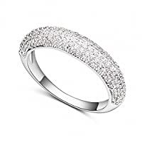 Women Rings Enhancers Ring Women Girl Alloy Crystal Rose Golden White,Crystal Clear Spirit City