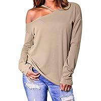 Geili Damen Bluse Plus Größe Frauen Einfarbig T-Shirt Sexy EIN Schulter Loch Unregelmäßige Langarm Blusen Top... preisvergleich bei billige-tabletten.eu