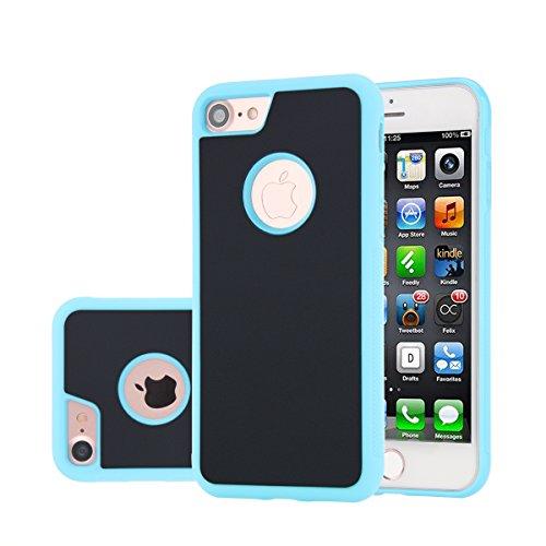 iPhone 7 Anti Gravity Hülle, Moonmini® Selfie Adsorption Anti-Slip Neuheit Selbstklebend Sticky Case Glatte Oberfläche Anti-Rutsch Hülle Zubehör Back Cover für iPhone 7 Schwarz Himmelblau
