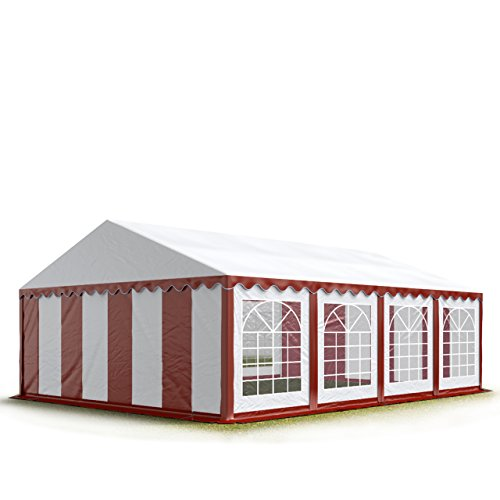 Party-Zelt Festzelt 5x8 m Garten-Pavillon -Zelt 500g/m² PVC Plane in rot-weiß Wasserdicht (Fenster-folie Abnehmbare)