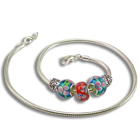 Balalabeads Beautiful Silver Plated 18 Inch Necklace 'Flower Power' Collection - With Three Handmade Lampwork Glass Beads And Two Metal Spacer