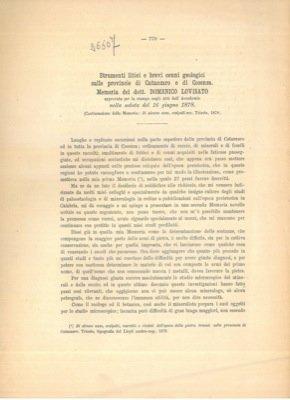 Strumenti litici e brevi cenni geologici sulle provincie di catanzaro e di Cosenza.