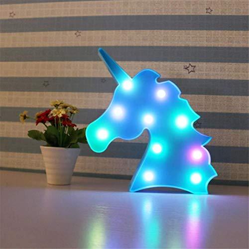 QiXian Night Light Blue Ins Accessoires Props Licorne Tête Tir Décoratif Lumières LED Lampe de Bureau Mignon Chambre des Enfants Styling Night Light Rêve Mur Suspendu