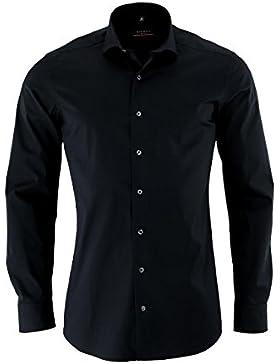 Eterna Herrenhemd Herren Baumwoll Hemd Baumwollhemd Business Freizeit Langarm Slim Fit Schwarz
